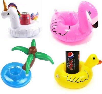 Flamingo & Duck Inflatable Drinks Can Cup Holder Pool Party Swimming Bath Toy