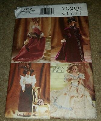 VOGUE Vintage Sewing Pattern 9759 11 1/2 inch Historical Doll Clothes Uncut