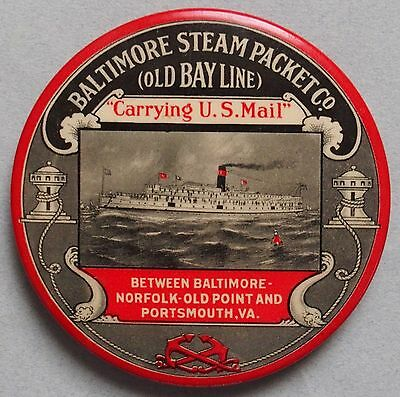 Very Rare Baltimore Steam Packet Co. Advertising Pocket Mirror / Paperweight Wow