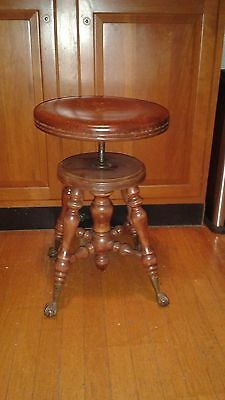 Antique Piano Organ Stool Victorian Wood Metal Glass Ball & Claw Feet