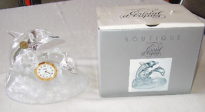 Stunning Crystal Glass Dolphin on Frosted Glass Base clock by Cristal D'Arques