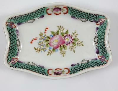 Occupied Japan Hand Painted Porcelain Jewelry Trinket Dish Flowers MK