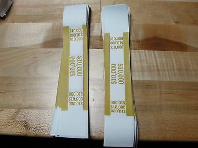 100 SELF SEALING MUSTARD $10,000 Currency Straps Bill Bands $10,000 QTY 100