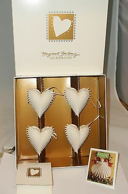 Margaret Furlong ALL FOUR LOVE Set of 4 Angel Wing Heart Christmas Ornaments New