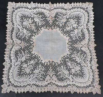 Superior 19Th C Hand Made Brussels Lace Handkerchief W Finest Details