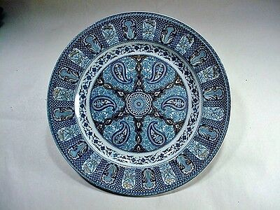 """Antique Plate: Blue on White with Gold Center Wheel Cartouches /Fowers """"INDIAN"""""""