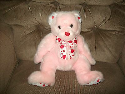 TY Classic BLUSHING Pink Valentine Soft Plush Bear Red Hearts Plush Bear 2003