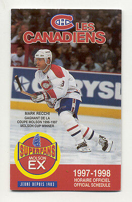 1997 - 98 Montreal Canadiens NHL Hockey Schedule ******* Free Shipping *****