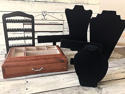 Jewelry Necklace Pendant Bracelet Earrings Ring Display Storage Box Lot Business