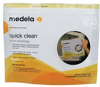 Medela Quick Clean Micro-Steam Bags Eliminate Bacteria Disinfects Breastpump Kit