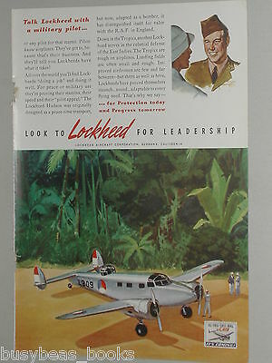 1941 Lockheed Airplane advertisement, Lockheed Hudson on South Pacific beach