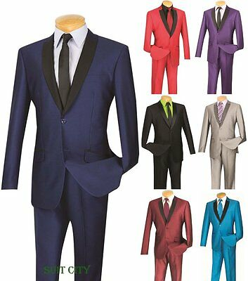 Men's Suit Single Breasted 2 Button 2 Piece Slim Fit Shark Skin 2-Tone S2PS-1