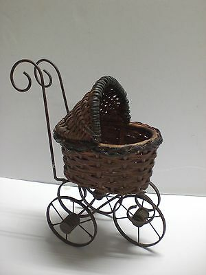 Vintage Baby Doll Carriage Stroller Wood Wicker  - RARE