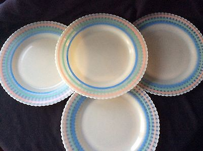 "4 Macbeth Evans Petalware Pastel Stripe 9"" Plate Lot 2"
