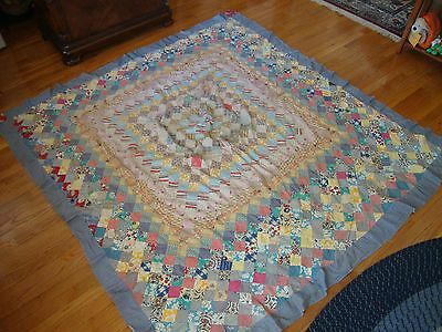 Antique Vintage Feedsack Quilt Top TRIP AROUND THE WORLD Hand Sewn