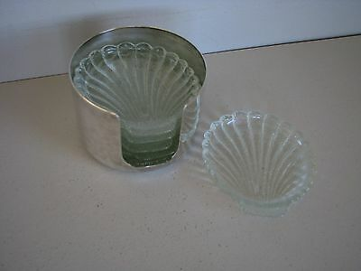 6 Shell Design Glass Coasters in a Silverplate Cradle