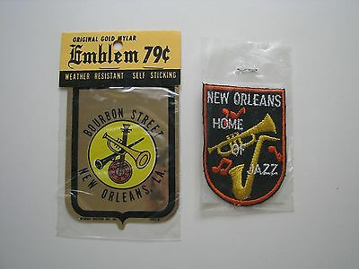 Vintage New Orleans Bourbon Street Car Sticker and Embroidered Jacket Patch