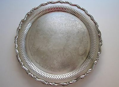 "VINTAGE ONEIDA SILVERPLATE 12"" ROUND SERVING TRAY Pierced Platter w/ Ribbed Edge"
