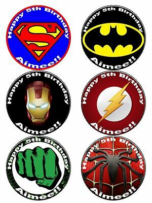 """3"""" Large Cupcake Toppers X6 Personalized Marvel Edible Photos For Cupcakes"""
