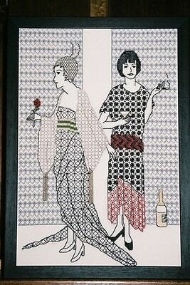 Blackwork Embroidery Kit.  Nice and Naughty.  Catkin Embroidery