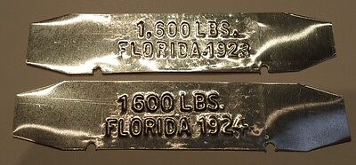 REPRODUCTION....1923 OR 1924 Florida License Plate Weight Tab, MUST READ DESC.
