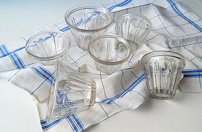 6 Vintage French Jelly Jars Tapering Sides Faceted Glass Group for 'Confiture'
