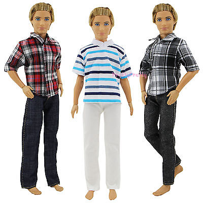 3 Sets Men's Tops Shirt + Trousers Outfit Casual Wear Suits Clothes For Ken Doll