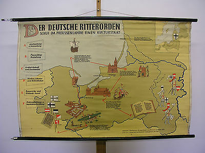 Wandkarte Deutscher Ritterorden 118x79~1958 teutonic military catholic order map