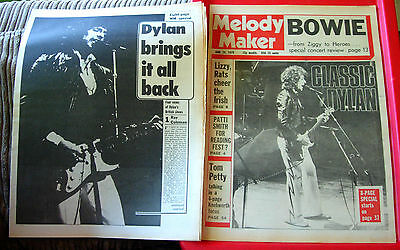 Bob Dylan Vintage ORIGINAL 1978 8-Page Melody Maker Magazine ARTICLE+FRONT COVER