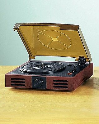 3 Speed Record Player Vinyl Turntable - Built-In Speakers - (Mahogany) BRAND NEW