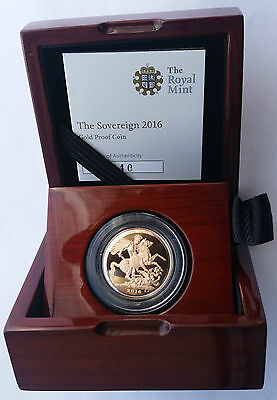 2016 Gold Proof Sovereign Royal Mint Box & COA.