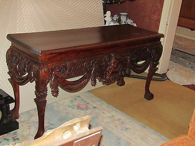 Chippendale Style Carved Beautiful Long Hall Table Ornate