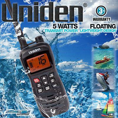 Uniden Mhs127 Handheld Vhf Radio Waterproof Float Water Jetski Hand Held New