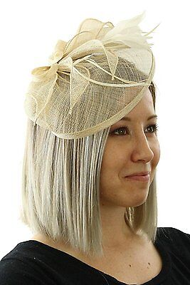 Chloe Ladies Sinamay Fascinator Hat with Hair Clip and Feathers Tea Party Derby