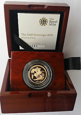 2016 Gold Proof Half Sovereign Royal Mint Box & C.O.A.