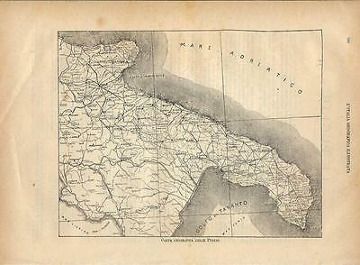Carta geografica antica PUGLIA PUGLIE 1891 Old antique map