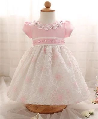 Beautiful baby girls dress, pink or blue, christening,party,wedding 3-6 months