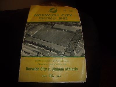 norwich city v oldham 26/10/1960 league cup (first season)