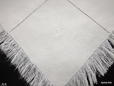 Vintage Fringed Linen Tablecloth Topper and 6 Napkins Monogram HS 79 x 83 cms