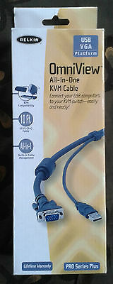 Belkin Omniview All-in-one KVM Cable Pro Series Plus 10 Ft New in Box