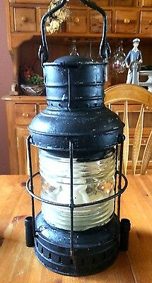 Nautical Lantern Lamp Boat Light Large Clear Glass Antique Electrified 16""