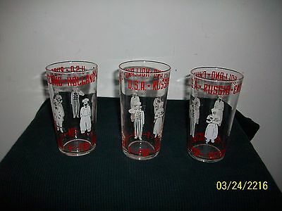 V for Victory WWll Allied Glass Tumblers Churchill Uncle Sam China Holland USSR