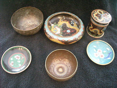Chinese Antique Dragon Bowl & other items