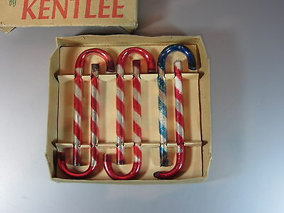 Vintage Christmas Ornament Mercury glass candy canes stripe KENTLEE w/ Box # 655