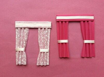 """2 Pink dolls house curtains  3.5"""" X 4"""" one plain one patterened"""