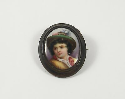 Antique Victorian Hand Painted Brooch Pin Miniature Portrait of Young Boy Child
