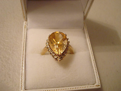 9ct Gold Citrine & Diamond Large Pear Cut Ring QVC