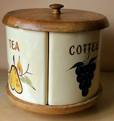 Watt Esmond Ceramic Canister Set: 4 canisters with wood lazy susan & lid
