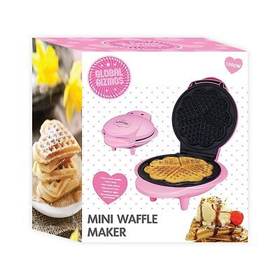 New Global Gizmos Pink 1000W Homemade Heart Shape Non Stick Mini Waffle Maker