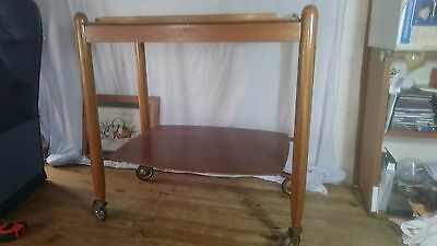 Vintage 1960s Vanson Wood Trolley On Wheels Removable Tray Top